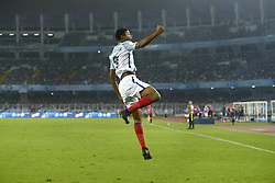 October 25, 2017 - Kolkata, West Bengal, India - England Rhain Brewster (jersey 9) celebrates his goal during the FIFA U 17 World Cup India 2017 Semi Final match in Kolkata. Players of England and Brazil in action during the FIFA U 17 World Cup India 2017 Semi Final match on October 25, 2017 in Kolkata. (Credit Image: © Saikat Paul/Pacific Press via ZUMA Wire)