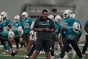 Miami Dolphins head strength and conditioning coach Dave Puloka conducts warm ups at indoor practice during training camp at the Baptist Health Training Facility at Nova Southeastern University, Friday, August 2, 2019, in Davie, Fla. (Kim Hukari/Image of Sport)