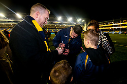 Cornell du Preez of Worcester Warriors signs autographs - Mandatory by-line: Robbie Stephenson/JMP - 30/11/2019 - RUGBY - Sixways Stadium - Worcester, England - Worcester Warriors v Sale Sharks - Gallagher Premiership Rugby