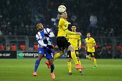 18.02.2016, Signal-Iduna-Stadion, Dortmund, GER, UEFA EL, Borussia Dortmund vs FC Porto, Sechzehntelfinale, Hinspiel, im Bild Brahimi (#8, FC Porto) mit Lukasz Piszczek (#26, Borussia Dortmund) // during the UEFA Europa League Round of 32, 1st Leg match between Borussia Dortmund and FC Porto at the Signal-Iduna-Stadion in Dortmund, Germany on 2016/02/18. EXPA Pictures © 2016, PhotoCredit: EXPA/ Eibner-Pressefoto/ Deutzmann<br /> <br /> *****ATTENTION - OUT of GER*****