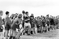 Bobby Windsor - British Lions/Wales. Is watched by school children during a practice session. Buller- West Coast v British Lions @ Westport, New Zealand, 29/6/77. Credit: Colorsport.