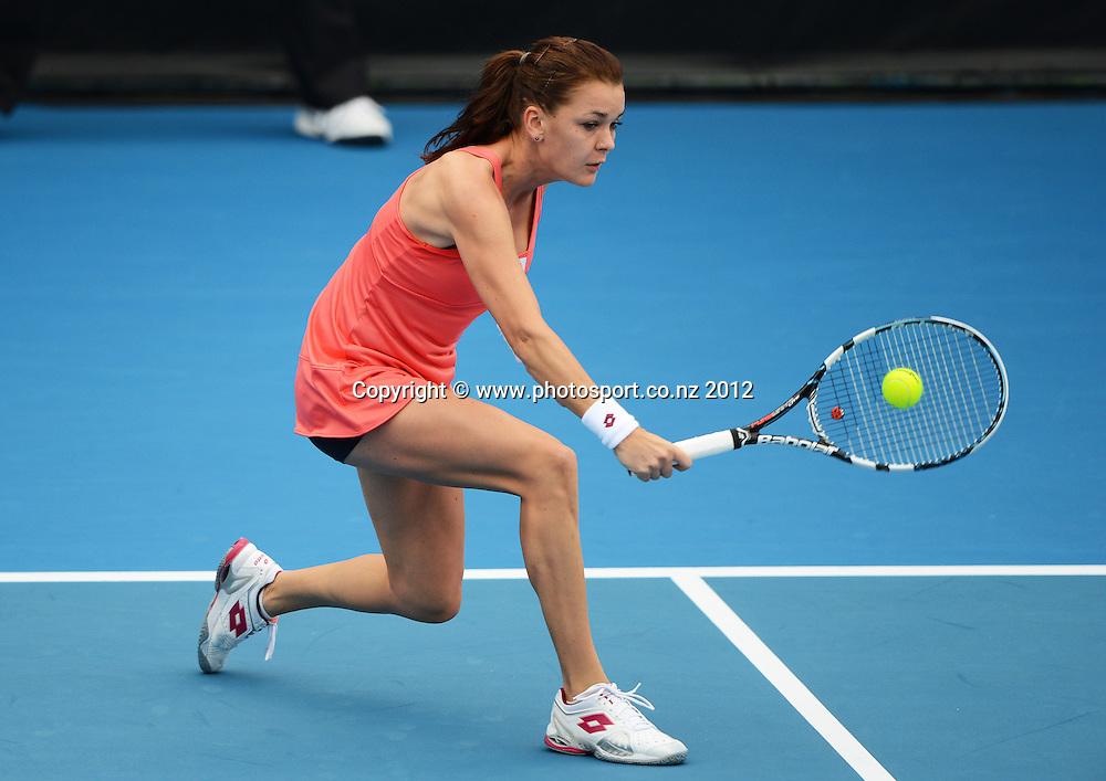 Number 1 seed Agnieszka Radwanska (POL) v Elena Vesnina (RUS) quarter final singles match at the ASB Classic. ASB Tennis Centre, Auckland. New Zealand. Thursday 3 January 2013. Photo: Andrew Cornaga/Photosport.co.nz