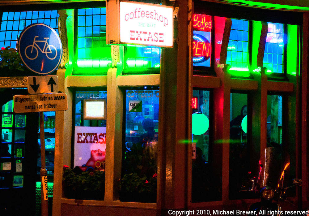 Amsterdam, Holland.  Extase Coffee Shop in the red light district.  Great neon lights.