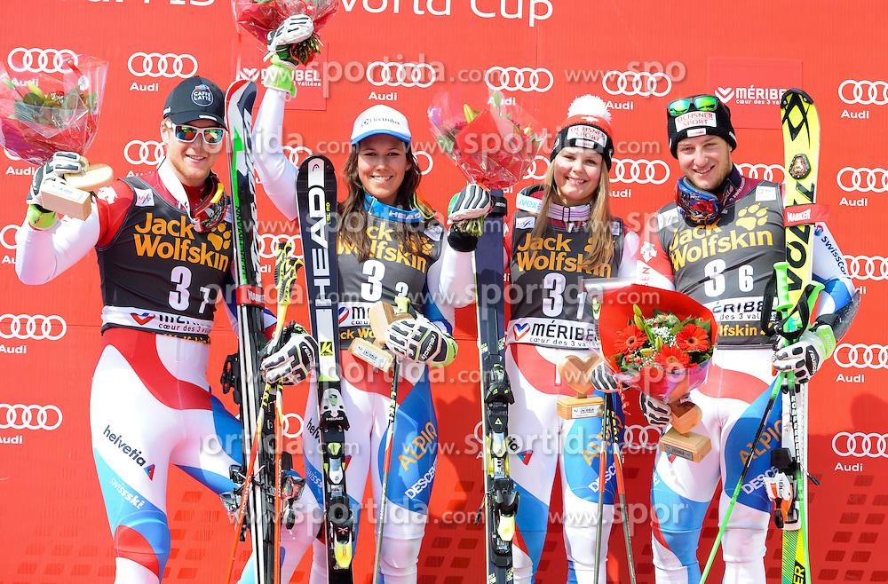20.03.2015, Roc de Fer, Meribel, FRA, FIS Weltcup Ski Alpin, Meribel, Teambewerb, Siegerehrung, im Bild Team Schweiz (SU, 1. Platz) // first placed Team Switzerland during winner Ceremony for the Nation Grand Prix of FIS World Cup finals at the Roc de Fer in Meribel, France on 2015/03/20. EXPA Pictures © 2015, PhotoCredit: EXPA/ Erich Spiess