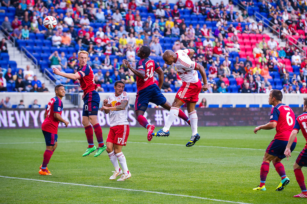 HARRISON, NJ - MAY 10: Jamison Olave #4 of New York Red Bulls in action against the Chicago Fire at Red Bulls Arena on May 10, 2014. (Photo By: Rob Tringali) Jamison Olave