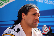 TAMPA, FL - JANUARY 27: Safety Troy Polamalu #43 of the AFC Pittsburgh Steelers speaks to the media during Super Bowl XLIII Media Day at Raymond James Stadium on January 27, 2009 in Tampa, Florida. ©Paul Anthony Spinelli *** Local Caption *** Troy Polamalu
