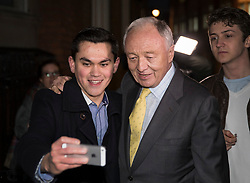 © Licensed to London News Pictures. 04/04/2017. London, UK. Former Mayor of London Ken Livingstone stops for a selfie as he leaves Church House after being suspended from the Labour Party  for a further year after a disciplinary hearing. Mr Livingstone has been accused of anti-Semitism after comments he made in April 2016 claiming that Hitler supported Zionism in the 1930's. Photo credit: Peter Macdiarmid/LNP