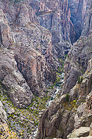 Looking down into the Black Canyon and the Gunnison River from Chasm View  along the South Rim.  Black Canyon of the Gunnison National Park, Colorado.