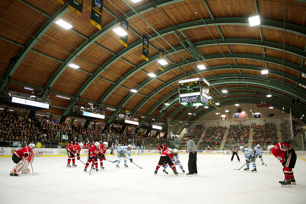 The Vermont State division I boys high school hockey championship game between the Champlain Valley Union Red Hawks and the South Burlington Rebels at Gutterson Field House on March 23, 2013 in Burlington, Vermont.  Photo by Brian Jenkins