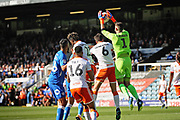 Blackpool goalkeeper Mark Howard (1) collects this cross during the EFL Sky Bet League 1 match between Peterborough United and Blackpool at The Abax Stadium, Peterborough, England on 29 September 2018.