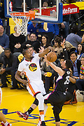 Golden State Warriors forward Kevin Durant (35) blocks a shot by LA Clippers guard Austin Rivers (25) at Oracle Arena in Oakland, Calif., on January 28, 2017. (Stan Olszewski/Special to S.F. Examiner)