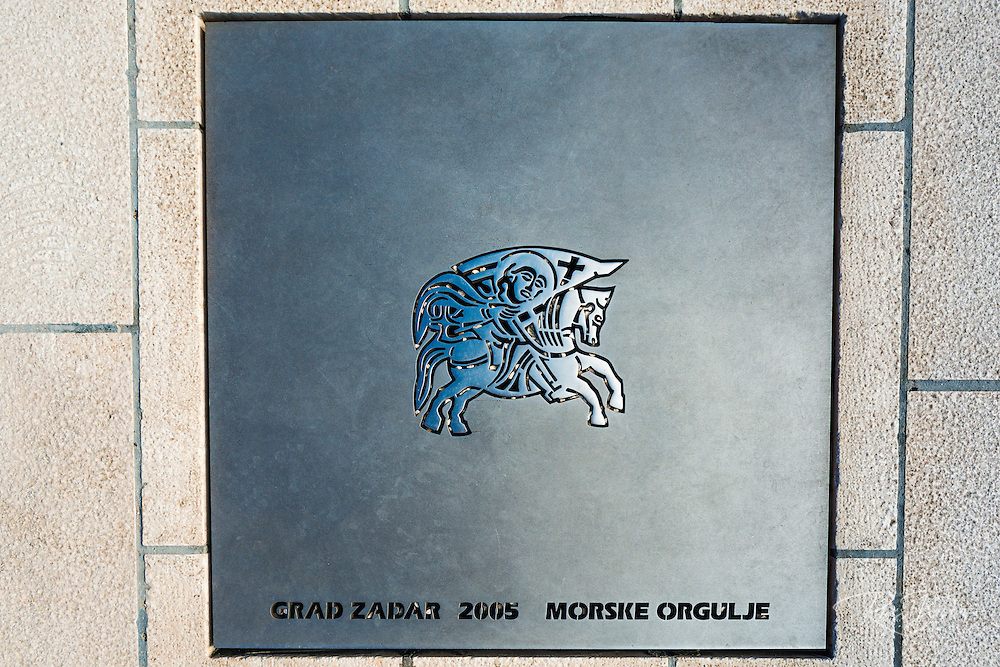 Plaque at the Sea Organ (Morske orgulje), Old Town Zadar, Dalmatian Coast, Croatia