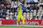 Steve Smith launches Ben stokes over point for 6 during the ICC Cricket World Cup 2019 warm up match between England and Australia at the Ageas Bowl, Southampton, United Kingdom on 25 May 2019.