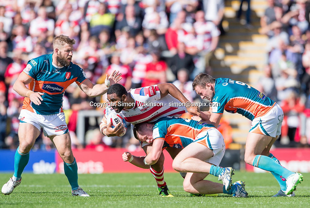 Picture by Allan McKenzie/SWpix.com - 12/08/2017 - Rugby League - Betfred Super League - The Qualifiers - Leigh Centurions v Hull KR - Leigh Sports Village, Leigh , England - Leigh's Samisoni Langi is tackled by Hull KR's Nick Scruton, Liam Harris & Shuan Lunt.