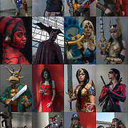 16 Cosplay attendees in their hero and villains costumes.<br />
