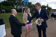 IVAN SOPER; SIDNEY FINCH; LORD ANTONY RUFUS-ISAACS, Chucs Dive & Mountain Shop charity Swim Party: Lido at The Serpentine. London. 4 July 2011. <br /> <br />  , -DO NOT ARCHIVE-© Copyright Photograph by Dafydd Jones. 248 Clapham Rd. London SW9 0PZ. Tel 0207 820 0771. www.dafjones.com.