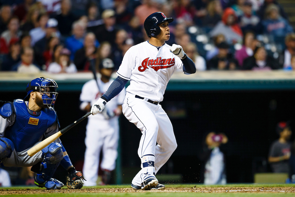 May 1, 2015; Cleveland, OH, USA; Cleveland Indians left fielder Michael Brantley (23) hits a two run home run in the fourth inning against the Toronto Blue Jays at Progressive Field. Mandatory Credit: Rick Osentoski-USA TODAY Sports