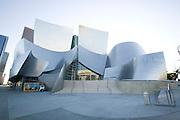 Overall view of front entrance of Walt Disney Concert Hall with blue sky above, 135 North Grand Ave, Los Angeles, CA 90012, Part of Music Center, Performing Arts Center of Los Angeles County, California...Subject photograph(s) are copyright Edward McCain. All rights are reserved except those specifically granted by Edward McCain in writing prior to publication...McCain Photography.211 S 4th Avenue.Tucson, AZ 85701-2103.(520) 623-1998.mobile: (520) 990-0999.fax: (520) 623-1190.http://www.mccainphoto.com.edward@mccainphoto.com.