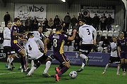 Billy Waters misses a chance during the Vanarama National League match between Boreham Wood and Cheltenham Town at Meadow Park, Boreham Wood, United Kingdom on 9 January 2016. Photo by Antony Thompson.