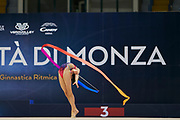 "Sofia Raffaeli during the ""1st Trofeo Citta di Monza"" tournament. On this occasion we have seen the rhythmic gymnastics teams of Belarus and Italy challenge each other. The Bilateral period was only June 9, 2019 at the Candy Arena in Monza, Italy."