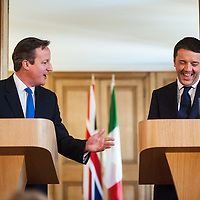 Joint press conference of Prime Minister Matteo Renzi and Prime Minister David Cameron at Downing Street.<br />