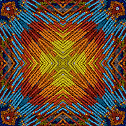 Computer enhanced kaleidoscope of shapes and colors zooming to center point.