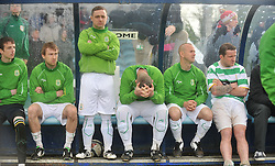 Castlebar Celtic's players in the dugout as the penaty shootout goes against them at the Connaught Cup final.<br /> Pic Conor McKeown