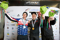 SUUR-HAMARI Matti, STRONG Evan, MASSIE Alex, Snowboarder Cross, 2015 IPC Snowboarding World Championships, La Molina, Spain