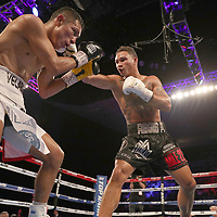 NEW ORLEANS, LA - JULY 14:  Regis Prograis (R) <br /> fights Juan Jose Velasco during their WBC Diamond Super Lightweight Title boxing match at the UNO Lakefront Arena on July 14, 2018 in New Orleans, Louisiana.  (Photo by Alex Menendez/Getty Images) *** Local Caption *** Regis Prograis; Juan Jose Velasco