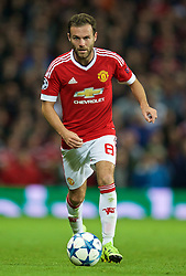 MANCHESTER, ENGLAND - Tuesday, August 18, 2015: Manchester United's Juan Mata in action against Club Brugge during the UEFA Champions League Play-Off Round 1st Leg match at Old Trafford. (Pic by David Rawcliffe/Propaganda)