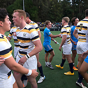 BERKELEY, CA - NOVEMBER 08:  California players shake hands with UCLA players after winning the PAC Rugby 7's Championship between UCLA and California at Witter Rugby Field at the University of California on November 8, 2015 in Berkeley, California. California won the match by a score of 17-5. (Photo by Alex Menendez/Getty Images) *** Local Caption ***