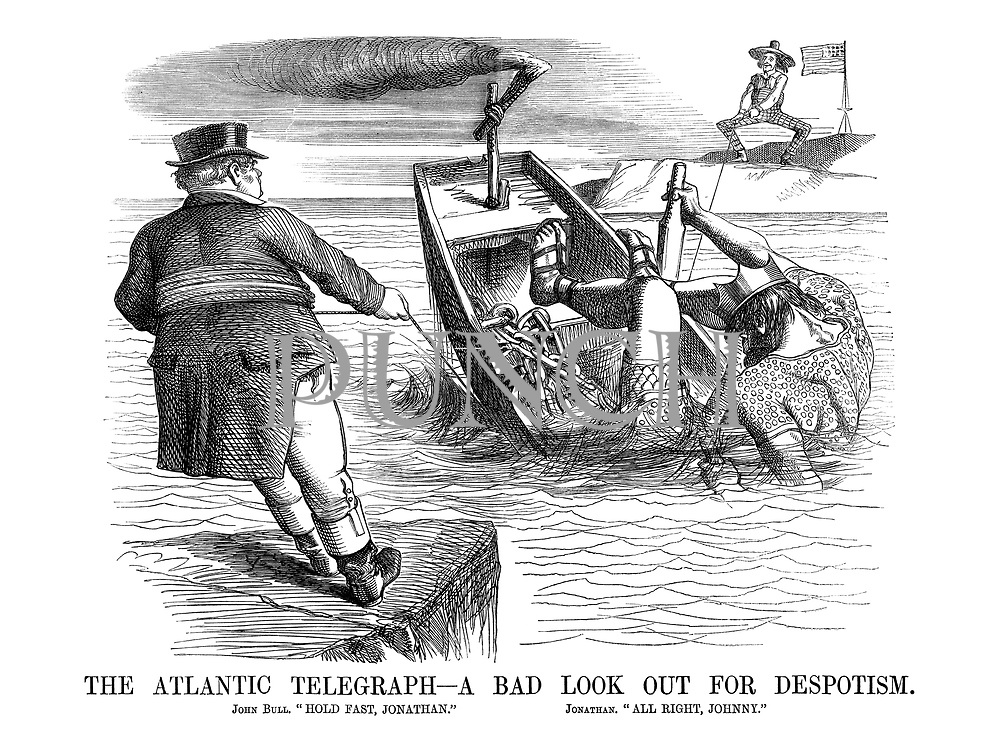 """The Atlantic Telegraph - A Bad Look Out For Despotism. John Bull. """"Hold fast, Jonathan."""" Jonathan. """"All right, Johnny."""""""