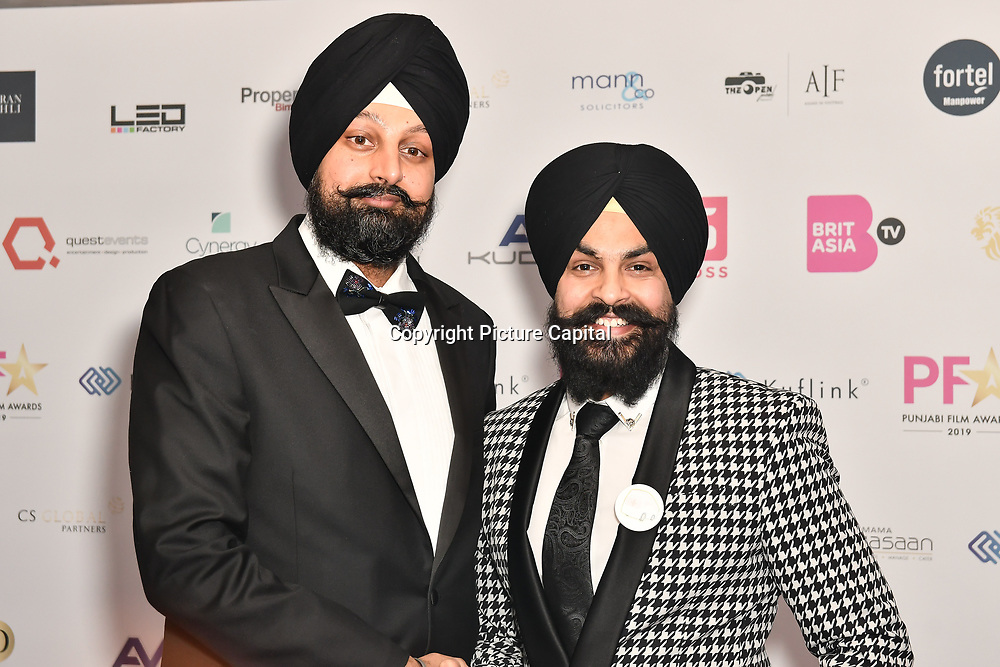 Tony Shergill & Baljinder Singh attend the BritAsiaTV Presents Kuflink Punjabi Film Awards 2019 at Grosvenor House, Park Lane, London,United Kingdom. 30 March 2019