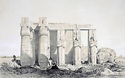 The Ramseion, 1843. Lithograph after Owen Jones (1809-1874) British architect. Ruins of the Ramesseum, mortuary temple of Rameses II, 13th century BC.  Statues of Rameses holding Crook and Flail. Ancient Egypt Kingship