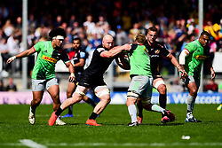 Matt Kvesic of Exeter Chiefs tackles Chris Robshaw of Harlequins - Mandatory by-line: Ryan Hiscott/JMP - 27/04/2019 - RUGBY - Sandy Park - Exeter, England - Exeter Chiefs v Harlequins - Gallagher Premiership Rugby