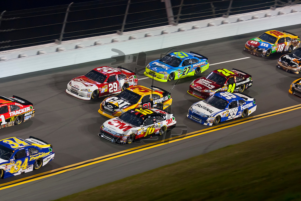 Daytona Beach, FL - Feb 18, 2012:  The NASCAR Sprint Cup teams take to the track for the Budweiser Shootout at the Daytona International Speedway in Daytona Beach, FL.