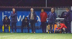 Falkirk's manager Ray McKinnon and bench after Stenhousemuir's Mark McGuigan scored their fourth goal. Stenhousemuir 4 v 2 Falkirk, 3rd Round of the William Hill Scottish Cup played 24/11/2018 at Ochilview Park, Larbert.