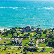 Aerial view of Tulum Archeological site. Quintana Roo. Mexico.
