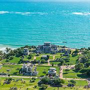 Aerial view of Tulum Archeological site. Quintana Roo. Mexico.