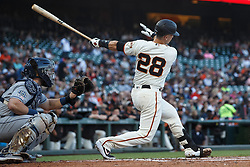 SAN FRANCISCO, CA - JUNE 12: Buster Posey #28 of the San Francisco Giants at bat against the San Diego Padres during the first inning at Oracle Park on June 12, 2019 in San Francisco, California. The San Francisco Giants defeated the San Diego Padres 4-2. (Photo by Jason O. Watson/Getty Images) *** Local Caption *** Buster Posey