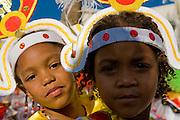 Portrait of two little girls.  Carnival. Mindelo. Cabo Verde. Africa.