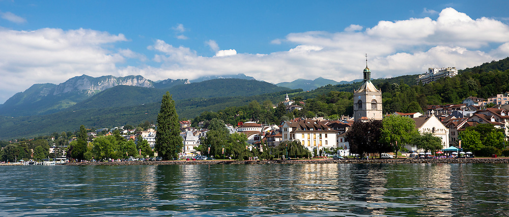 The town and church of Evian-les-Bains by Lake Geneva, Lac Leman, France