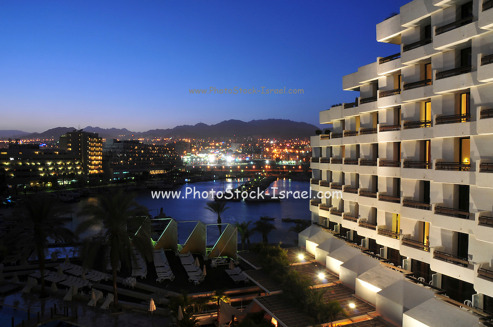Israel, Eilat The hotel strip at night