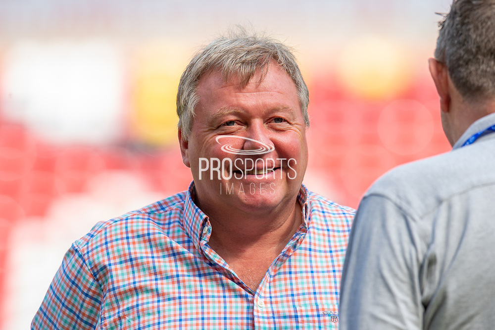 AFC Wimbledon manager Wally Downes smiles before the EFL Sky Bet League 1 match between Sunderland and AFC Wimbledon at the Stadium Of Light, Sunderland, England on 24 August 2019.