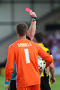 Scunthorpe keeper Luke Daniels is shown a red card for violent conduct during the Sky Bet League 1 match between Burton Albion and Scunthorpe United at the Pirelli Stadium, Burton upon Trent, England on 8 August 2015. Photo by Aaron Lupton.