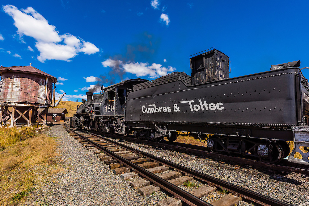 Cumbres & Toltec Scenic Railroad steam locomotive at Osier, Colroado.