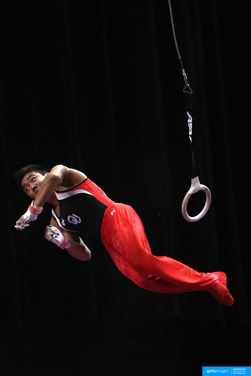 Kanji Oyama, Norman, Oklahoma, in action on the Still Rings during the Senior Men Competition at The 2013 P&G Gymnastics Championships, USA Gymnastics' National Championships at the XL, Centre, Hartford, Connecticut, USA. 16th August 2013. Photo Tim Clayton