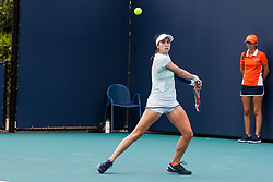 March 18, 2019 - Miami Gardens, FL, U.S. - MIAMI GARDENS, FL - MARCH 18: Christina McHale (USA) in action during the Miami Open on March 18, 2019 at Hard Rock Stadium in Miami Gardens, FL. (Photo by Aaron Gilbert/Icon Sportswire) (Credit Image: © Aaron Gilbert/Icon SMI via ZUMA Press)