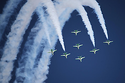 06.09.2015, Airbase, Rivolto, ITA, Payerne, Flugshow anlässlich des 55. Geburtstag der Frecce Tricolori, im Bild Saudi Hawks // during the Airshow on the occasion of the 55th anniversary of the Frecce Tricolori at the Airbase in Rivolto, Italy on 2015/09/06. EXPA Pictures © 2015, PhotoCredit: EXPA/ Eibner-Pressefoto/ Neurohr<br /> <br /> *****ATTENTION - OUT of GER*****
