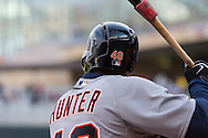 Torii Hunter #48 of the Detroit Tigers waits on-deck during a game against the Minnesota Twins on April 3, 2013 at Target Field in Minneapolis, Minnesota.  The Twins defeated the Tigers 3 to 2.  Photo: Ben Krause